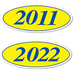 Blue and yellow oval year stickers ez198b