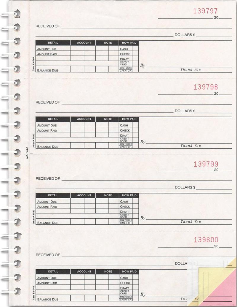 cash receipt book - 3 part