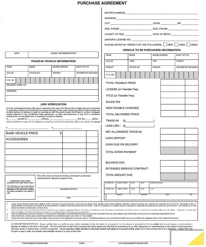 Purchase Agreement Forms 7382 Autodealersupplies Com Is