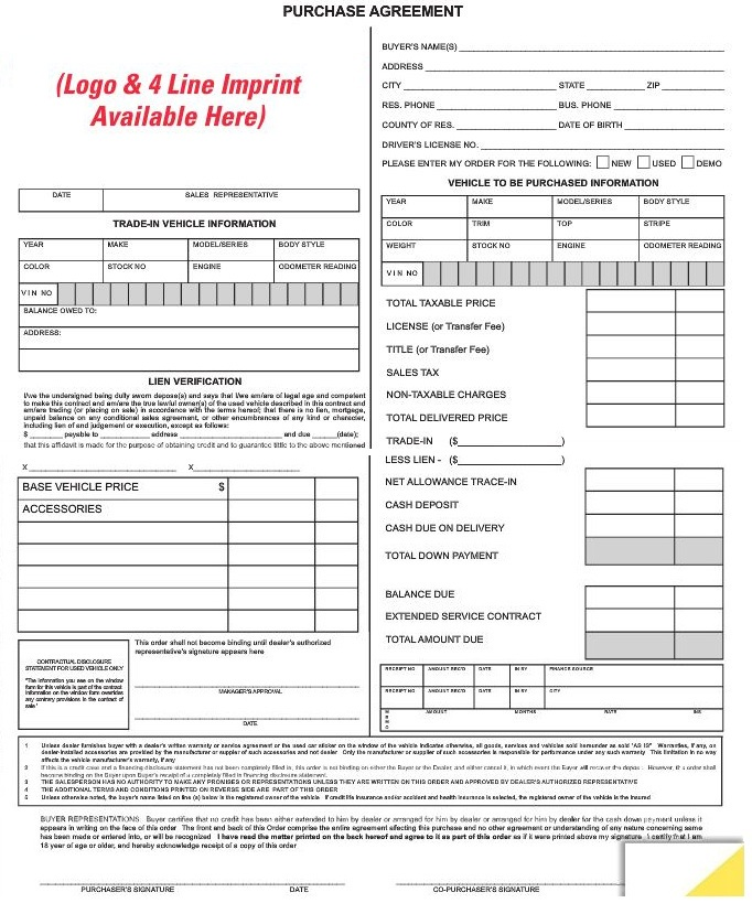 Purchase Agreement Forms Custom 7382imp – Vehicle Purchase Agreement
