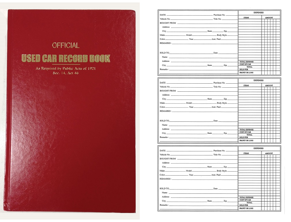 Used car record book (police book) #8360