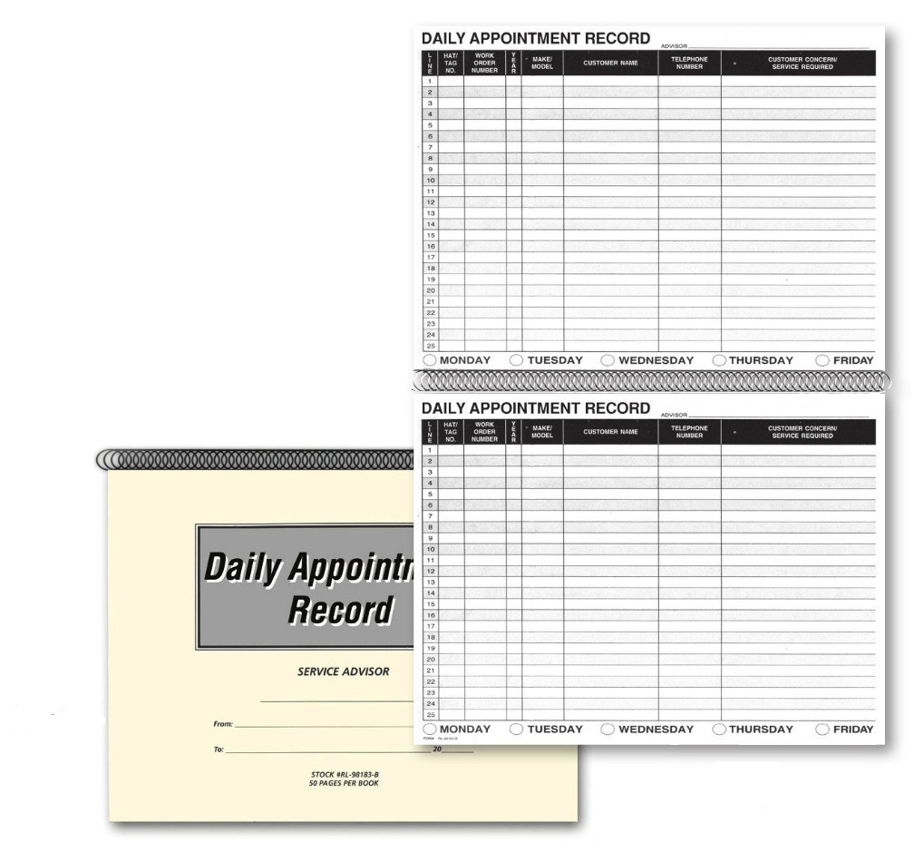 daily appointment record book 169 autodealersupplies com is your