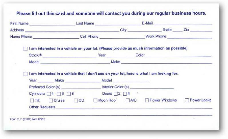 Autodealersupplies 1 For com Cards Lead Your Customer - Auto 7230 Source Is Dealer Supplies Cards