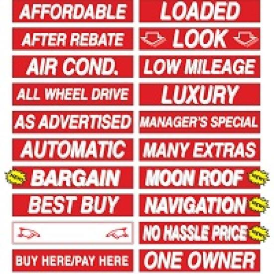 15 inch red & white sign stickers ez166