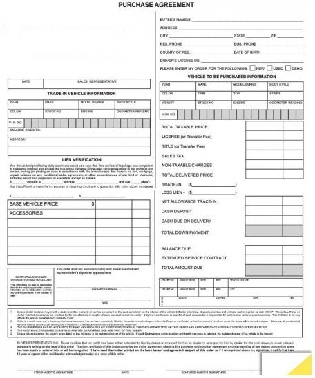 Purchase Agreement Forms #7382  Auto Purchase Agreement