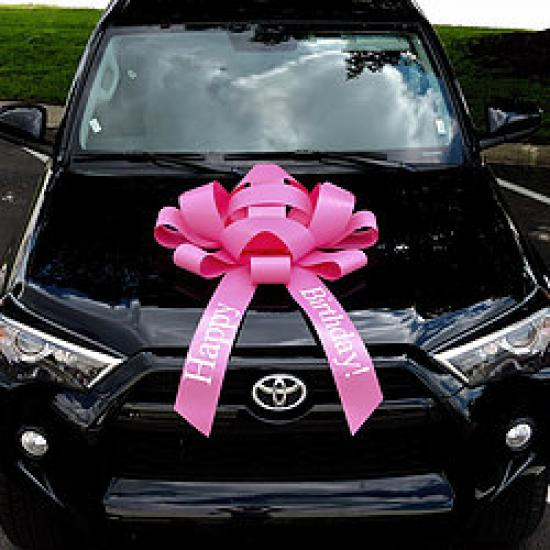 30 Inch Giant Pink Happy Birthday Magentic Car Bow #531