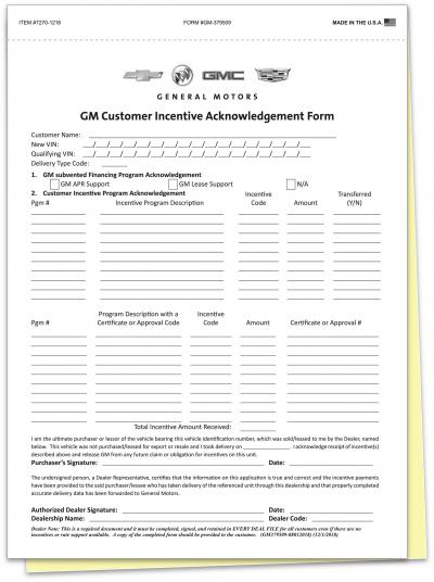 Gm Customer Incentive Acknowledgement Form 7270 1218