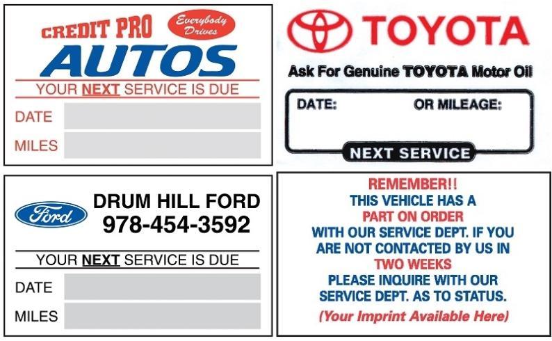 Custom Service Reminder Oil Change Stickers Pkg Of 1000